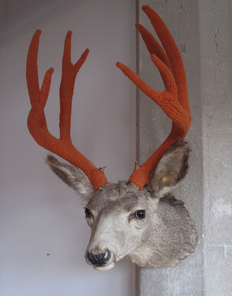 Amy Vogel's Dollarville 8 Pointer ... She Knit Antler Covers!