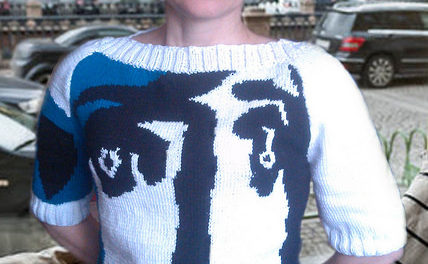 Picasso-inspired sweater, knithacked by Elena