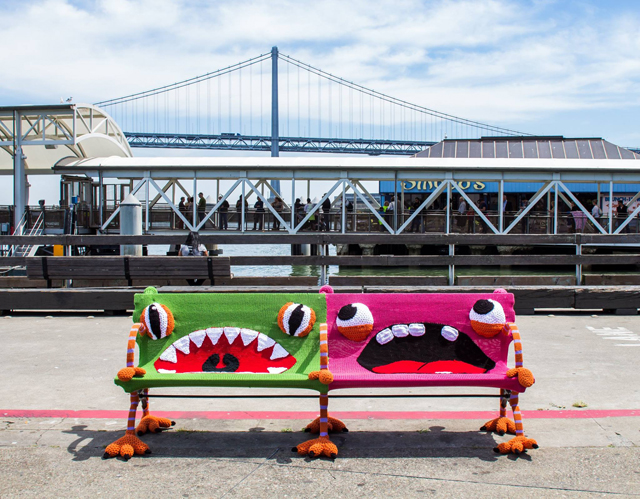 Lorna and Jill Watt's Yarn Bomb At The San Francisco Ferry Building
