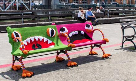 Lorna and Jill Watt's Yarn Bomb At The San Francisco Ferry Building