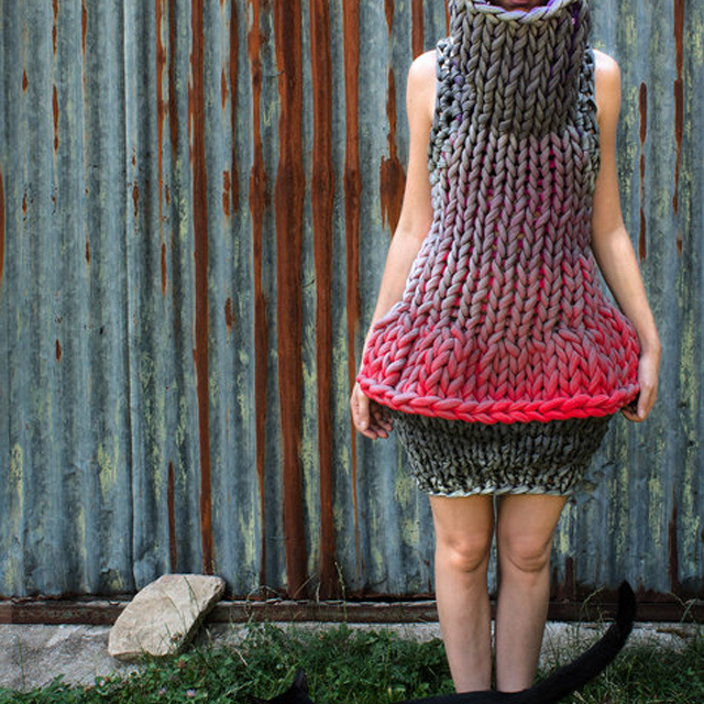 Big, Beautiful Knit Dress With Sparkly Silver Finish