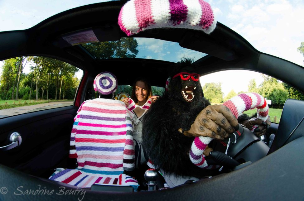 Sandrine Boutry's #SecretStripyProject is ... a Yarn Bombed Car, Inside and Out!