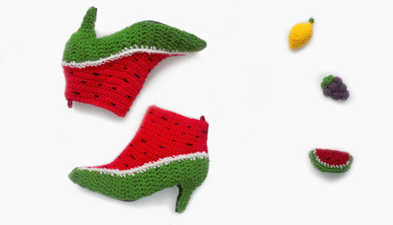 Crocheted Watermelon Booties You Can Really Wear!