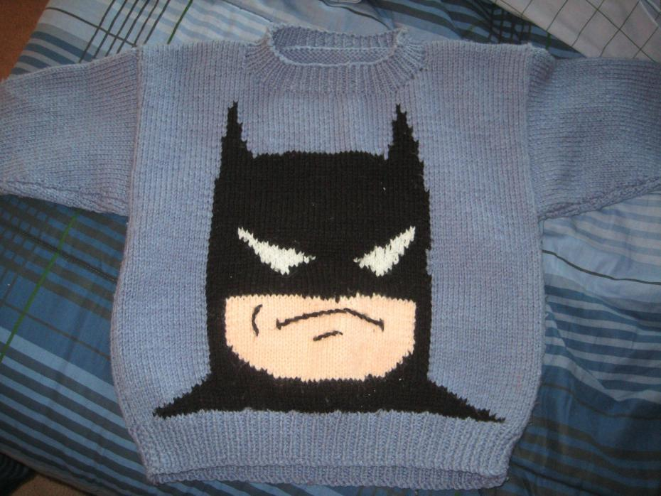 Redditor thatcrazycanuck shared this image of an amazing Batman sweater that his grandmother knitted him when he was a kid.