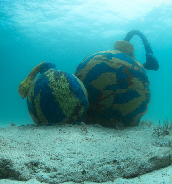 "Olek's Underwater ""Time Bomb"" Yarn Bomb"