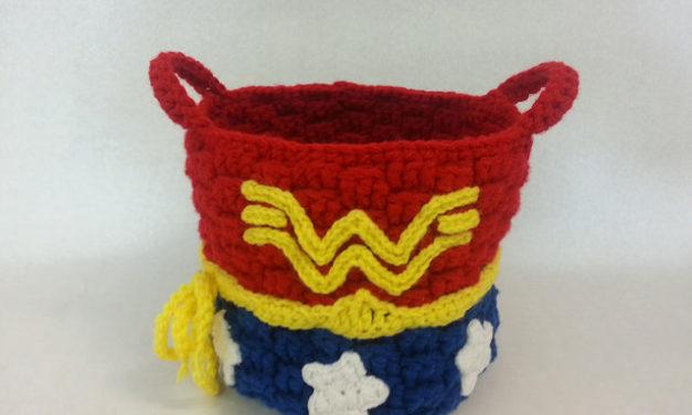 She Crocheted a Wonder Woman Basket!
