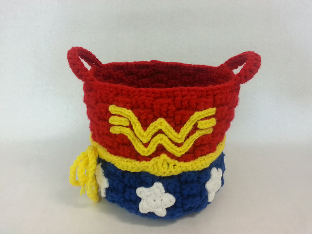 She Crocheted a Wonder Woman Basket!