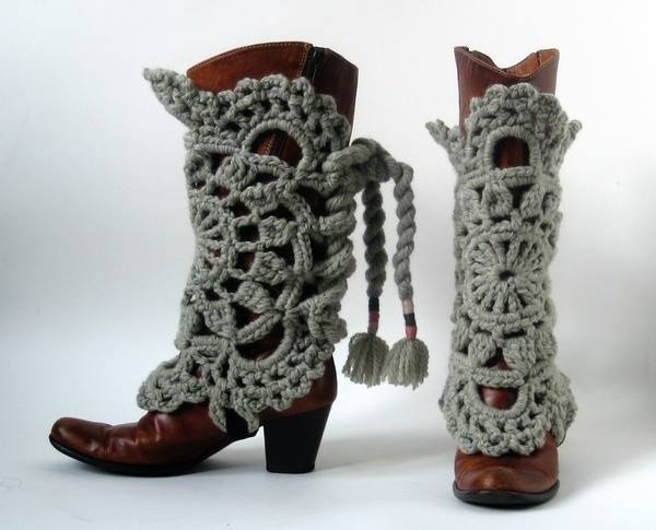 Lace Doily Cowboy Boot Covers in Crochet