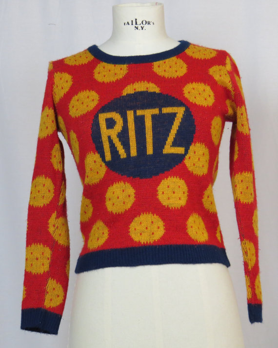 That's One Way of Puttin' On The Ritz! Vintage Ritz Cracker Sweater ...