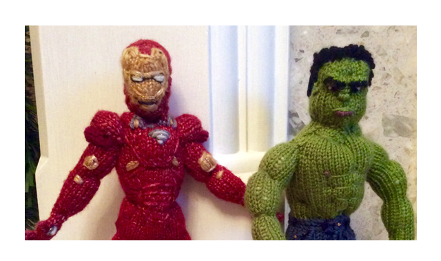 Finn's Pick: The Knitting Witch's Marvel Tribute featuring Hulk and Iron Man