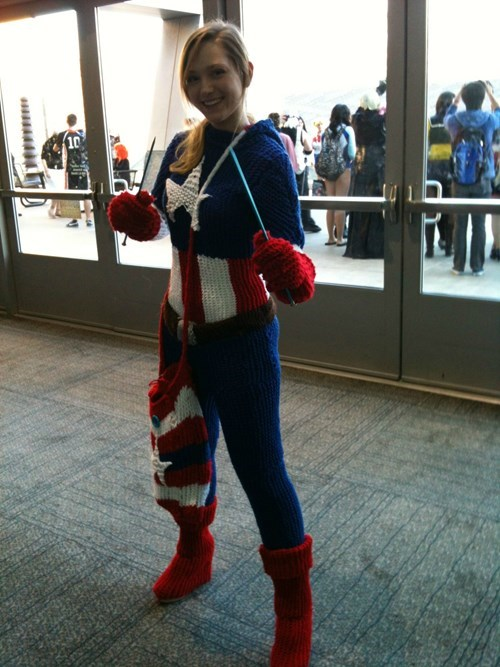 Avengers Assemble! This Knit Captain America Costume is Unbelievable!