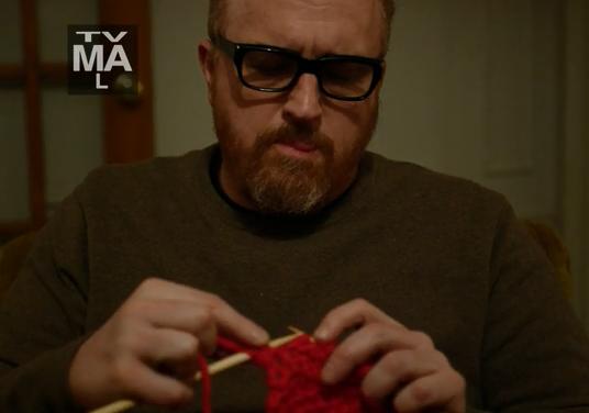 Knitting on Louie – He Knits! I love Louis CK!