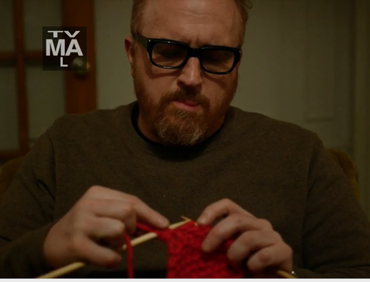 Knitting on Louie – He Knits! I love Louis CK!