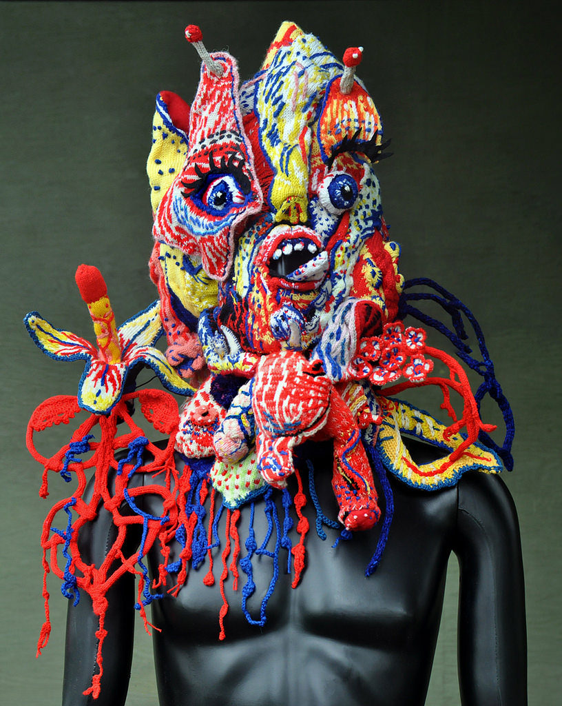 Knitted Mask - a Collaboration Between Brutal Knitting's Tracy Widdess & Stéphane Blanquet