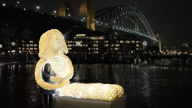 'Dolly' – Outdoor Installation By Crochet Artist Tina Fox, As Part of Sydney's 'Vivid Light Walk'