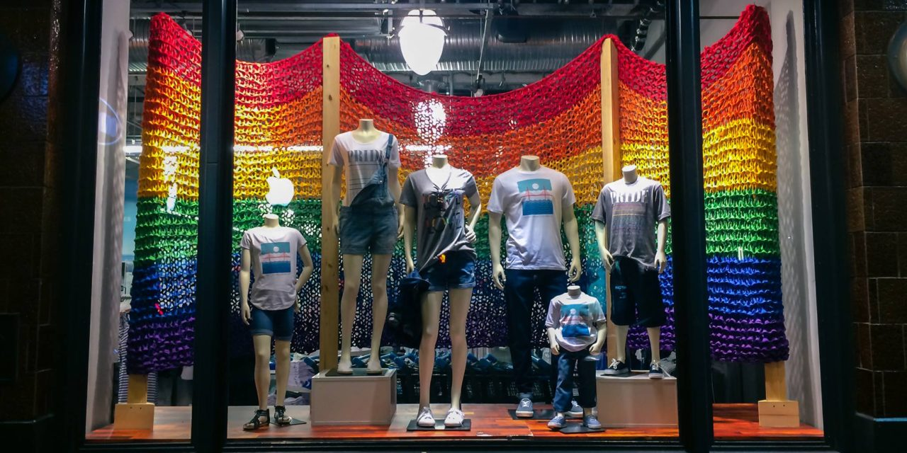Pride 2015: Flags by KnitsForLife For Old Navy Flagship Stores in San Francisco, New York City and Chicago – Happy Pride!