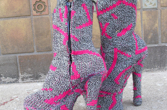 Fabulous Knithack Alert! Upcycled Platforms Covered in Knit 80s Sweater