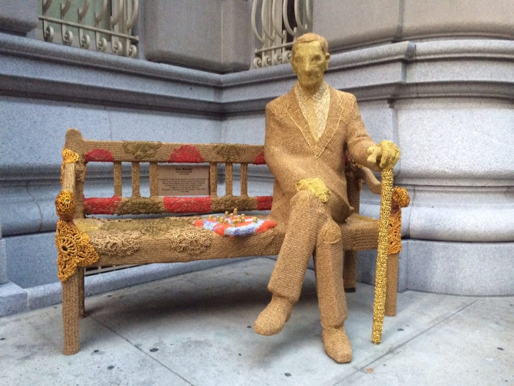 Artist Olek Crochets the Jan Karski Bench at the Polish Consulate in New York