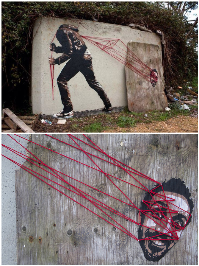 Thread-Bending Street Art by Sr. X and Spidertag