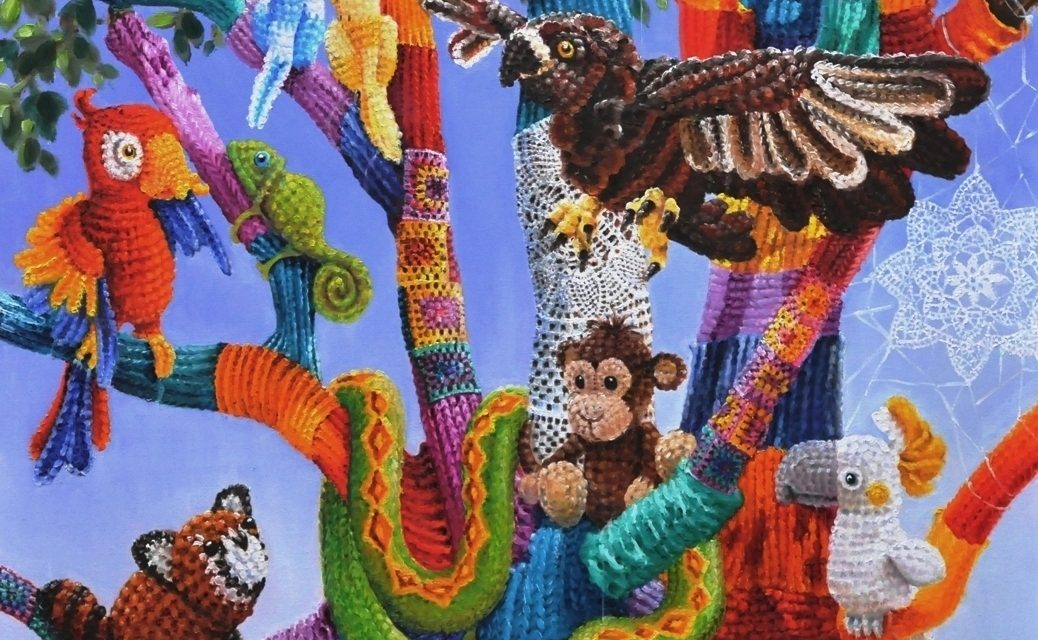 A Painted Tribute to Knit & Crochet Yarnbombing by Vera Cauwenbergh