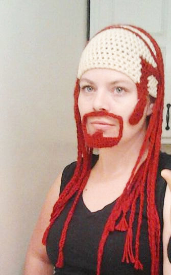 Pickles the Drummer, percussionist for Dethklok, Combover Skullet Hat with Long Red Braids and Attached Goatee by Bitter o'Clock (from cartoon Metalocalypse)