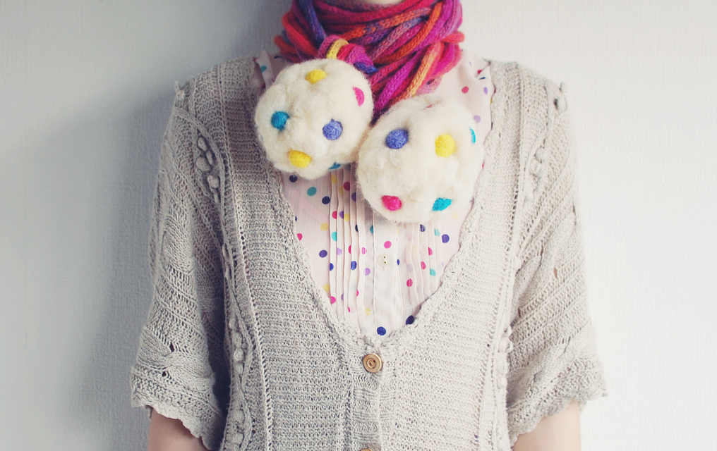 Oversized Felted Candy-Like PomPom Necklace – How Adorable Is This?