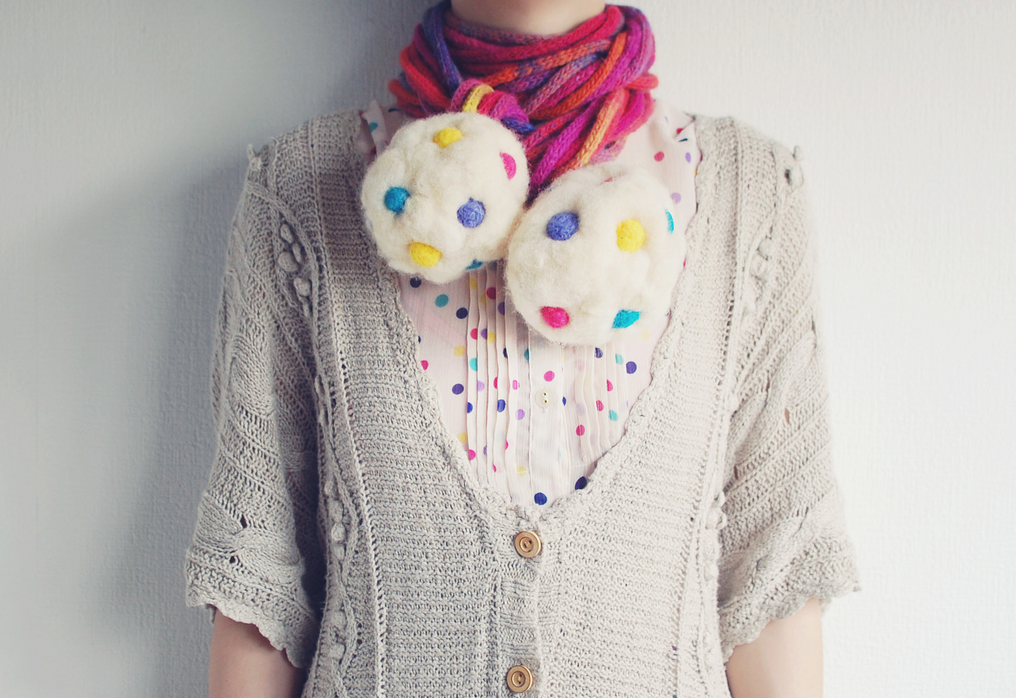 Oversized Felted Candy-Like PomPom Necklace - How Adorable Is This?