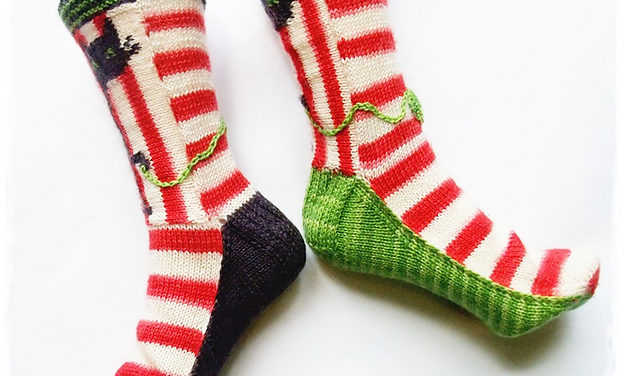 """Biscotte's Folly"" Knitted Cat Socks – Pattern Available!"