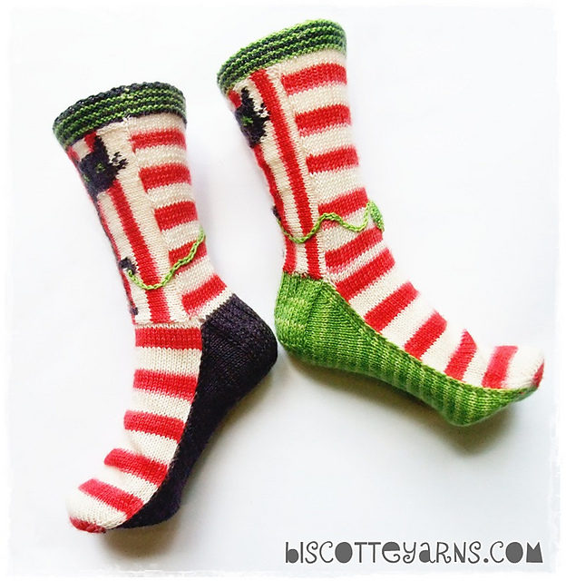 """""""Biscotte's Folly"""" Knitted Cat Socks – Pattern Available!"""