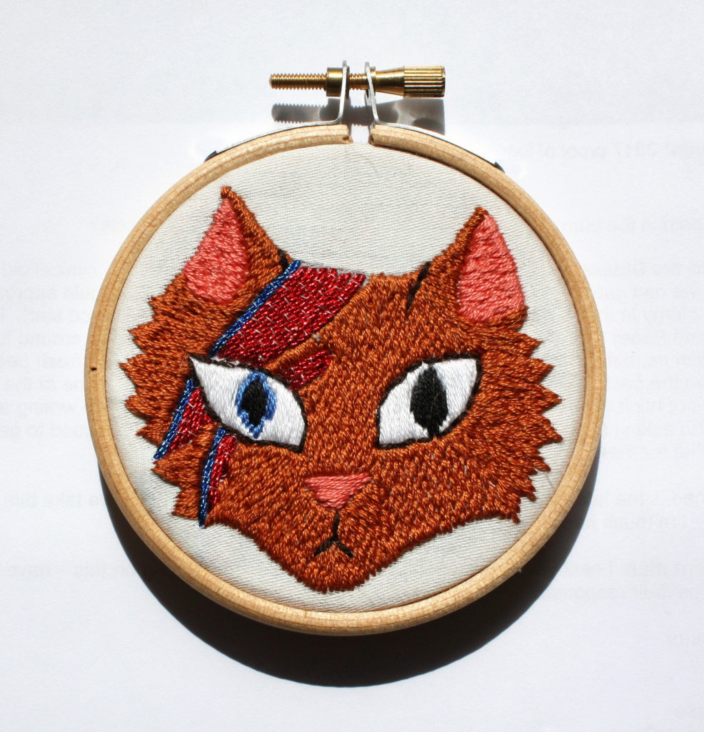 David Meowie embroidered by Twisty Sister