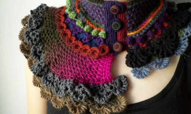 Knitted and Crocheted Scarflettes by Irregular Expressions