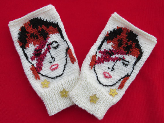 Aladdin Sane Wrist Warmers knit by CraftyCrazyJackie - by the wristers or the pattern via Etsy