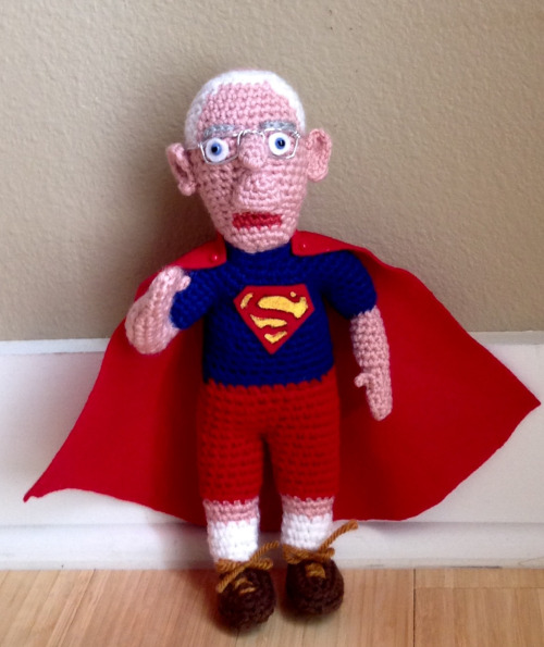 Bernie Sanders as Superman Crocheted by Tami's Amigurumi