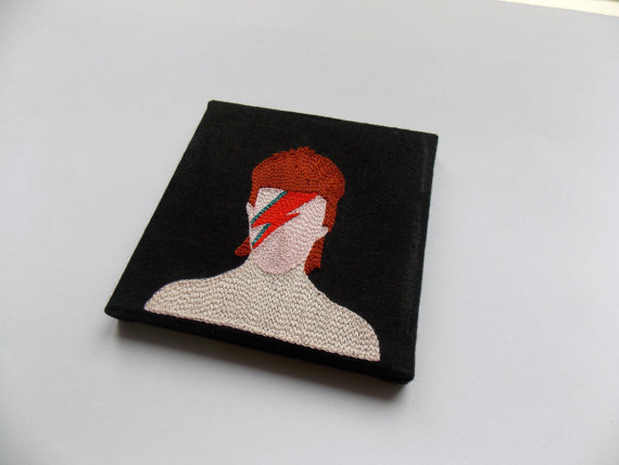 Bowie Embroidery on canvas by Broderie221