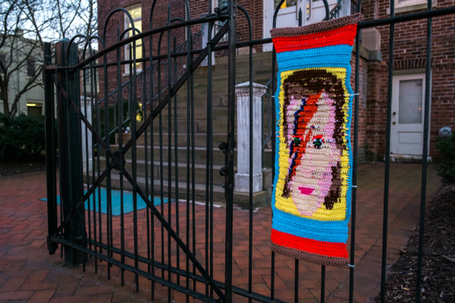 David Bowie blanket yarnbomb spooted in Collingswood, NJ