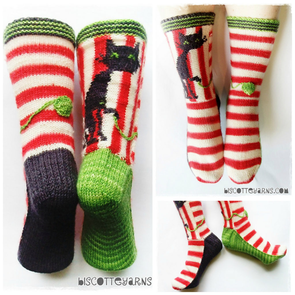 'Biscotte's Folly' Knitted Cat Socks - Pattern Available!
