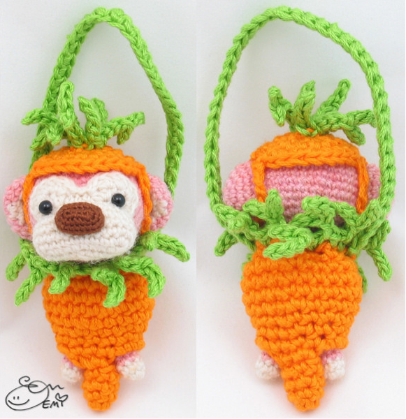 Miniature Carrot Baby Carrier & Hat Amigurumi by Emi Kanesada