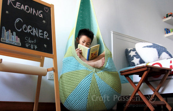 Knitted Cocoon Hanging Seat by Craft Passion