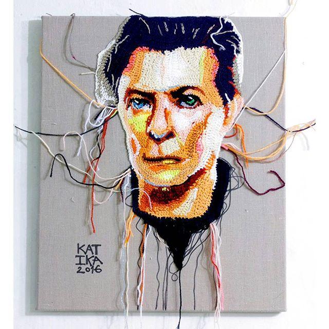 Bowie Portrait Crocheted by Katika