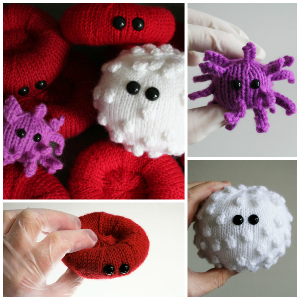 Knit Red & White Blood Cells and an Activated Platelet - by Dawn Finney