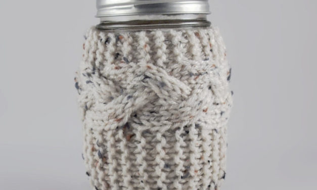 Simple Beauty: Knit Braided Cable Mason Jar Cozy