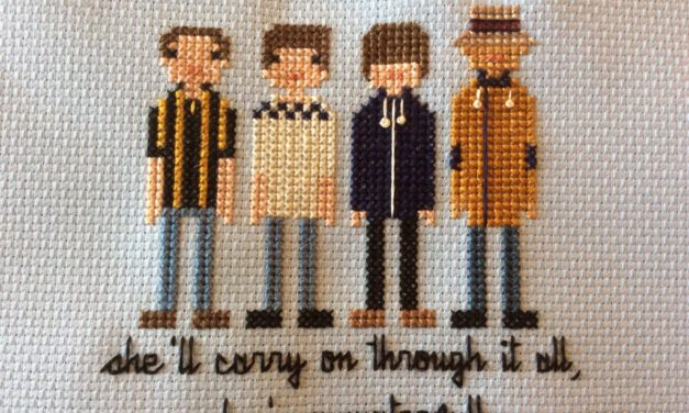 "Stone Roses Cross Stitch, ""She's a Waterfall"""