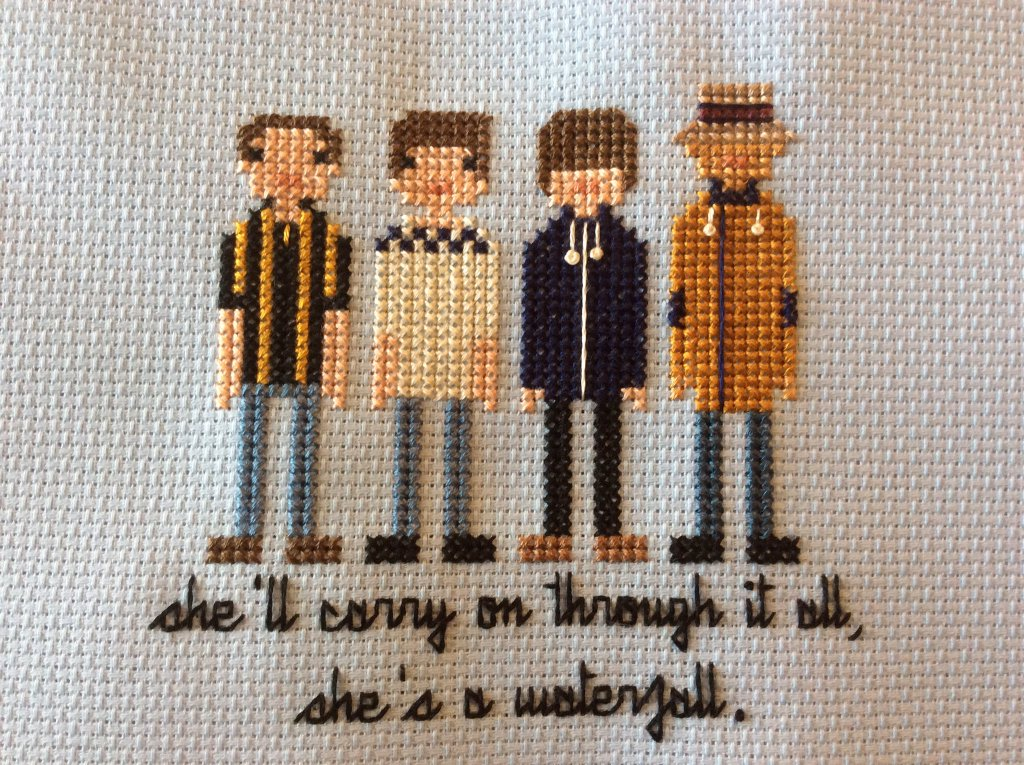 Stone Roses Cross Stitch, 'She's a Waterfall'