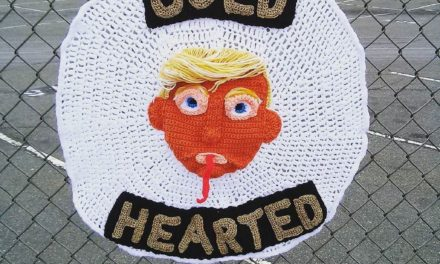 """Cold Hearted"" Donald Trump Yarn Bomb by Super Crocheter, Jenny Brown!"