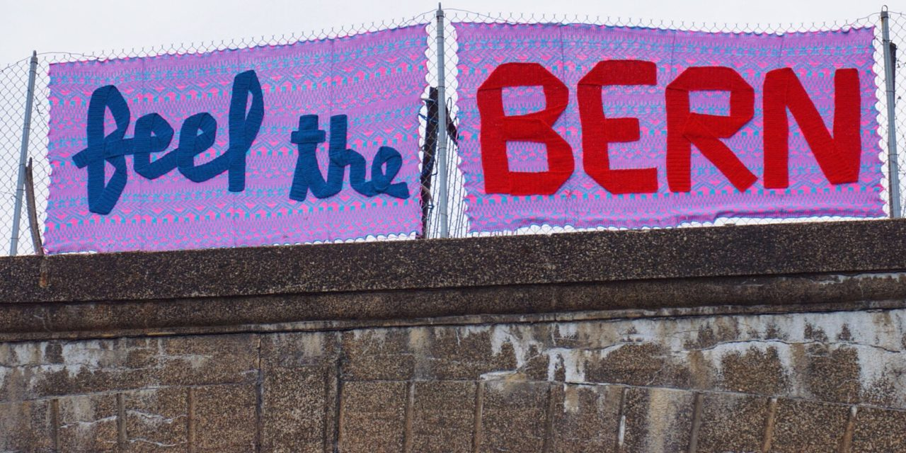 'Feel The Bern' Yarn Bomb by ishknits