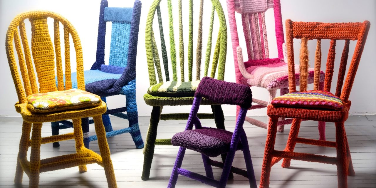 Yarn Bombed Chairs by Melissa Haims