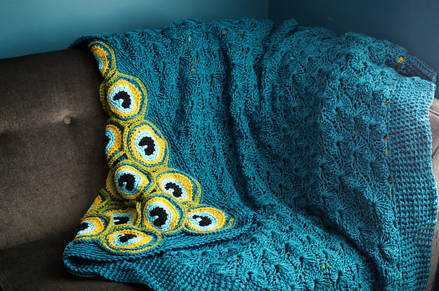 Yes, That Pretty Peacock Blanket ... It's Two Afghans In One! Get the Crochet Pattern!