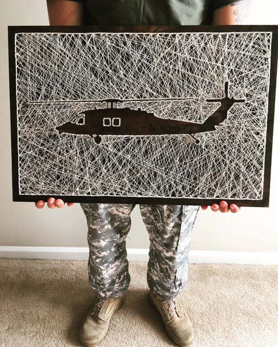 UH-60 Black Hawk Helicopter String Art - Notice the Crafty Use of Negative Space