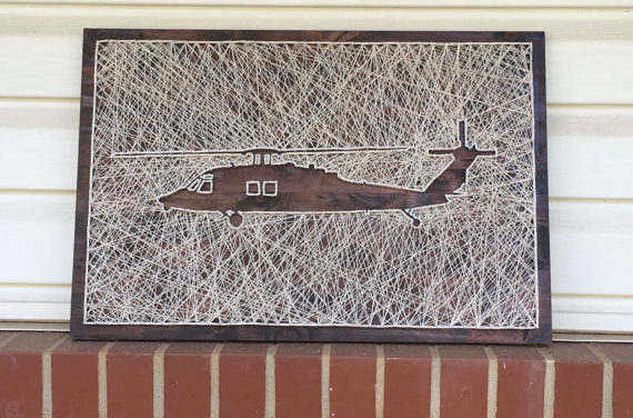 UH-60 Black Hawk Helicopter String Art – Notice the Crafty Use of Negative Space
