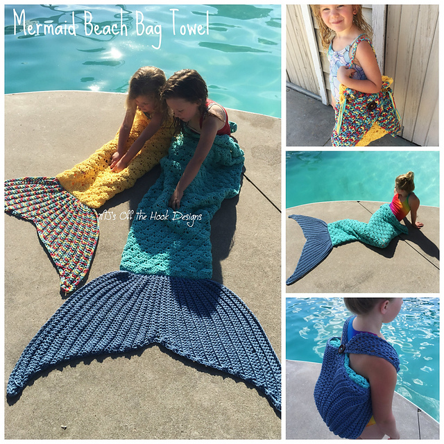 Great Idea! Crochet a Magic Mermaid Beach Towel That Actually Converts to a Travel Bag!